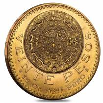 20 Peso Mexican Gold Coin (Random Year, Abrasions)