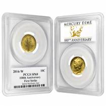 2016 1/10 oz Mercury Dime Centennial Gold Coin PCGS SP 69 FS 100th Ann