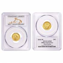 2016 1/4 oz Standing Liberty Quarter Centennial Gold Coin PCGS SP 69 FH First Strike