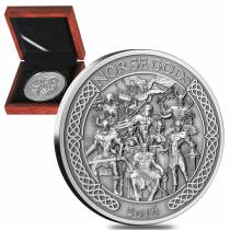 2016 Cook Islands 5 oz Silver The Norse Gods Ultra High Relief Antiqued (w/Box & COA)