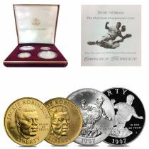 1997 W/S Jackie Robinson Commemorative Gold & Silver Proof/BU 4-coin Set (w/Box & COA)