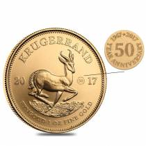 2017 South Africa 1 oz Gold Krugerrand BU (50th Annv. Privy)