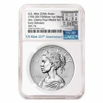 2017 D 1 oz American Liberty Uncirculated Silver Medal NGC MS 70 ER - 225th Anniversary
