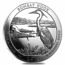 2015 5 oz Silver America the Beautiful ATB Bombay Hook National Wildlife Refuge Coin