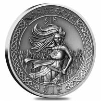 2016 2 oz Cook Islands Silver Norse Gods Sif Ultra High Relief Antiqued w/COA (In Capsule)