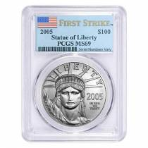 2005 1 oz $100 Platinum American Eagle Coin PCGS MS 69 First Strike
