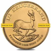 1/2 oz South African Krugerrand Gold Coin (Random Year, Abrasions)