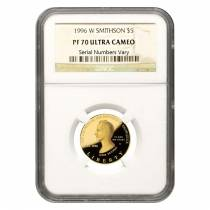 1996 W Gold $5 Proof Commemorative Smithson NGC PF 70 UCAM