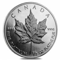 1/2 oz Platinum Canadian Maple Leaf Coin (Random Year)