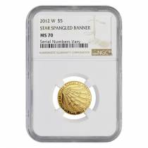 2012 W Gold $5 Commemorative Star Spangled Banner NGC MS 70