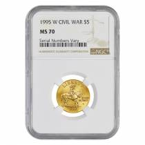1995 W Gold $5 Commemorative Civil War NGC MS 70