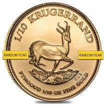 1/10 oz South African Krugerrand Gold Coin (Random Year, Abrasions)
