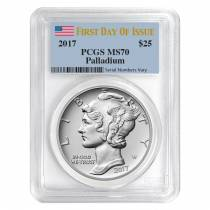 2017 1 oz Palladium American Eagle PCGS MS 70 First Day of Issue