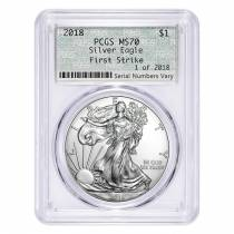 2018 1 oz Silver American Eagle $1 Coin PCGS MS 70 First Strike 1 of 2018 (Doily)