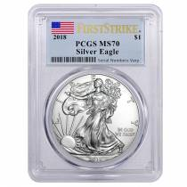 2018 1 oz Silver American Eagle $1 Coin PCGS MS 70 First Strike (Flag Label)