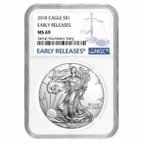 2018 1 oz Silver American Eagle $1 Coin NGC MS 69 Early Releases