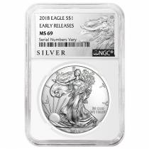2018 1 oz Silver American Eagle $1 Coin NGC MS 69 Early Releases (Liberty Label)