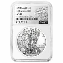 2018 1 oz Silver American Eagle $1 Coin NGC MS 70 Early Releases (Liberty Label)