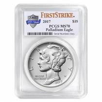 2017 1 oz Palladium American Eagle PCGS MS 70 First Strike (225th Annv.)