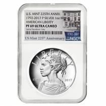 2017 P 1 oz American Liberty High Relief Proof Silver Medal NGC PF 69 (225th Ann. Label)