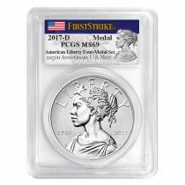 2017 D 1 oz American Liberty Uncirculated Silver Medal PCGS MS 69 FS - 225th Anniversary
