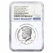 2017 S Proof Silver Kennedy Half Dollar Limited Edition NGC PF 69 ER