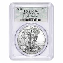 2018 1 oz Silver American Eagle $1 Coin PCGS MS 70 First Strike (Doily)