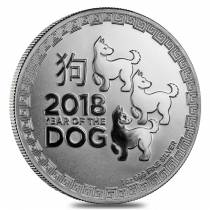 2018 1 oz Niue Silver $2 Year of the Dog BU