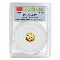 2018 1 Gram Chinese Gold Panda 10 Yuan PCGS MS 69 First Strike