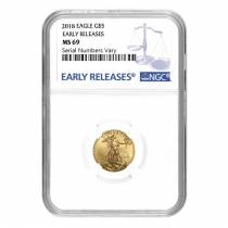 2018 1/10 oz Gold American Eagle NGC MS 69 Early Releases