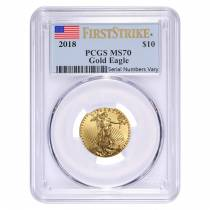 2018 1/4 oz Gold American Eagle PCGS MS 70 First Strike