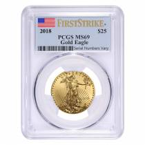 2018 1/2 oz Gold American Eagle PCGS MS 69 First Strike