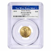 2018 1/4 oz Gold American Eagle PCGS MS 70 First Strike - West Point