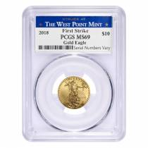 2018 1/4 oz Gold American Eagle PCGS MS 69 First Strike - West Point