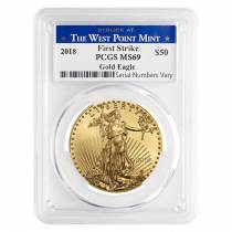 2018 1 oz Gold American Eagle PCGS MS 69 First Strike - West Point