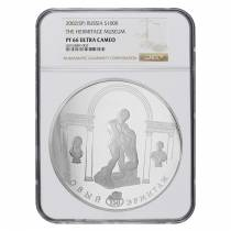 2002 Russia 1 Kilo Silver Hermitage Museum 100 Rubles Proof Coin NGC PF 66 UCAM