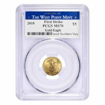 2018 1/10 oz Gold American Eagle PCGS MS 69 First Strike - West Point