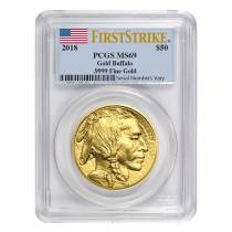 2018 1 oz Gold American Buffalo PCGS MS 69 First Strike
