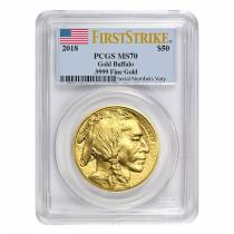 2018 1 oz Gold American Buffalo PCGS MS 70 First Strike