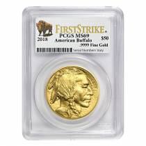 2018 1 oz Gold American Buffalo PCGS MS 69 First Strike (Buffalo Label)