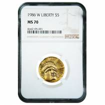 1986 W $5 Statue of Liberty Commemorative Gold Coin NGC MS 70