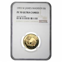 1993 W Gold $5 Proof Commemorative James Madison NGC PF 70 UCAM