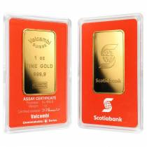 1 oz Gold Bar - Scotiabank Valcambi Suisse (In Assay)