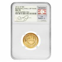 2014 W $5 Gold National Baseball Hall of Fame Coin NGC MS 70 (Cal Ripken Jr.)