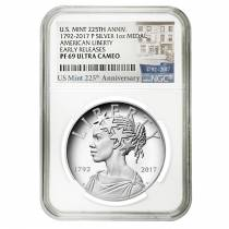 2017 P 1 oz American Liberty High Relief Proof Silver Medal NGC PF 69 Early Releases (225th Ann. Label)