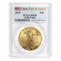 2018 1 oz Gold American Eagle PCGS MS 70 FDOI