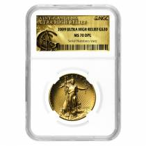 2009 1 oz $20 Ultra High Relief Saint-Gaudens Gold Double Eagle NGC MS 70 DPL