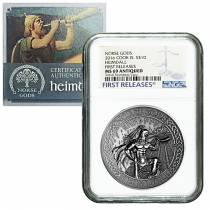 2016 2 oz Cook Islands Silver Norse Gods Heimdall Ultra High Relief NGC MS 69 Antiqued First Releases w/COA