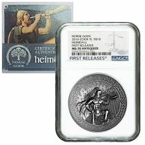 2016 2 oz Cook Islands Silver Norse Gods Heimdall Ultra High Relief NGC MS 70 Antiqued First Releases w/COA