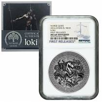 2016 2 oz Cook Islands Silver Norse Gods Loki Ultra High Relief NGC MS 69 Antiqued First Releases w/COA
